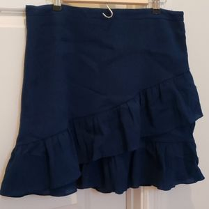 Navy mini skirt.